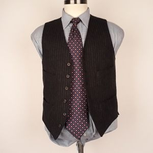 J CREW Black Striped Light Tweed Mens Small Vest